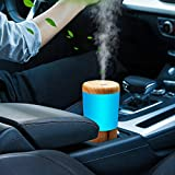 3. One Fire Car Diffuser Essential Oil Humidifier, USB Plug in Car Essential Oil Diffuser, Mini Portable Aromatherapy Cup Holder Car Humidifiers for Vehicle Office Travel Home - Wood