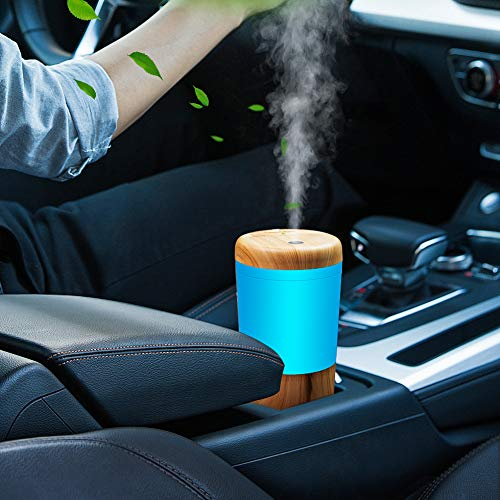 One Fire Car Diffuser Essential Oil Humidifier, USB Plug in Car essential oil Diffuser, Mini Portable Aromatherapy Cup Holder Car Humidifiers for Vehicle Office Travel Home - Wood