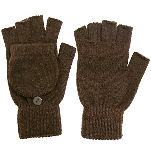 Winter Fingerless Gloves with Flap Cover Mitten Gloves, Brown