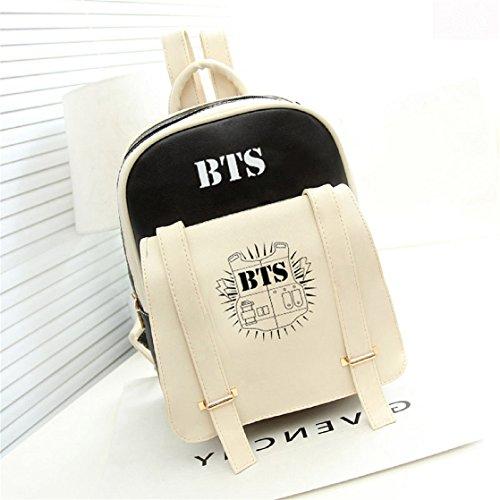 AUGYUESS KPOP Bangtan Boys BTS Schulranzen Daypack Crossbody Handtasche Rucksack, Kunstleder, schwarz 1, Größe S