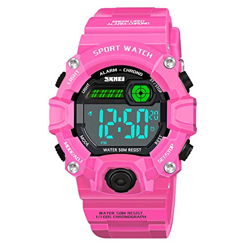 Image of 6-9 Year Old Girls Gifts, SOKY Waterproof Outdoor Sport Digital Wrist Watches Electronic Toys for 5-12 Year Old Girl Teens Xmas Prensents for Girls Age 5-10 Stocking Fillers for Kids Rose Red SKUSKW5