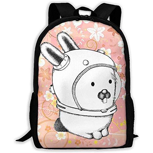 Lässige Schultasche Lustige süße Kaninchen Bunny Astronaut Doodle Rucksack Frauen 3D Print Daypacks für Männer