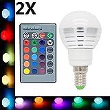 2X E14 Ampoules Couleur LED Multicolore 3W RGB Couleur à LED 16 Changement de...