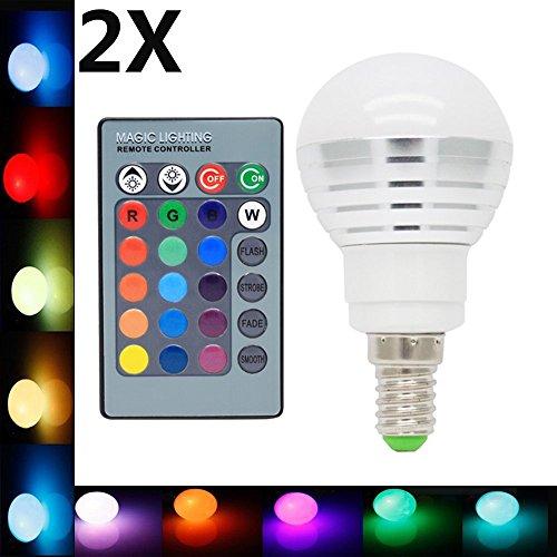 2X E14 Ampoules Couleur LED Multicolore 3W RGB LED Couleur à LED 16 Changement de Couleur 120° Angle de Faisceau avec Télécommande Infrarouge AC85-265V