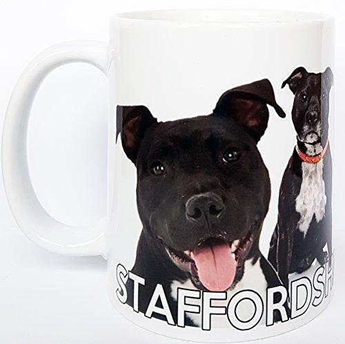 Staffordshire Bull Terrier Dog - Taza de cerámica para regalo de Staffy, apto para microondas y lavavajillas.