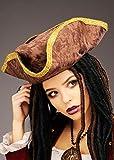 Magic Box Sombrero de Pirata tricornio marrón de tamaño Adut con Ribete Dorado