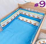 3pcs Bebé Juego de ropa de cama con patrón, Regular seguridad parachoques diseño 9 Talla:Fits Cot 120x60 cm