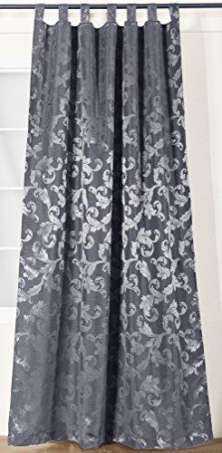 NOVUM fix Vorhang mit Schlaufen * zusätzliches Kräuselband * Dekoschal Jacquard-Gewebe 140x245 cm (BxH) * Silber-Grau