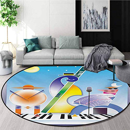 Find Discount Music Modern Machine Washable Round Bath Mat,Abstract Band of Geometric Shapes Drums A...