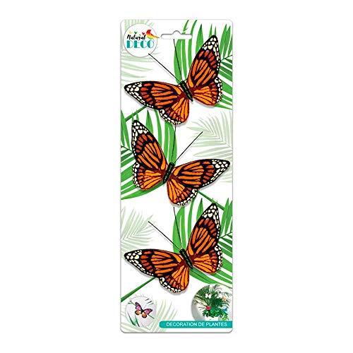 STC Déco Plantes – Lot de 3 Papillons Orange CD3859