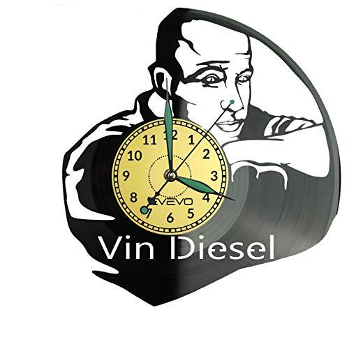 Reloj de pared Vin Diesel, de vinilo, retro, grande, para decorar el hogar, regalo ideal para amigo, hombre, vinilo, decoración para el hogar, pared inspiradora