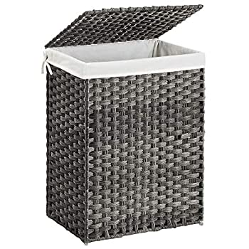 SONGMICS Handwoven Laundry Hamper Synthetic Rattan Laundry Basket with Removable Liner Bag Clothes Hamper with Handles for Laundry Room Gray