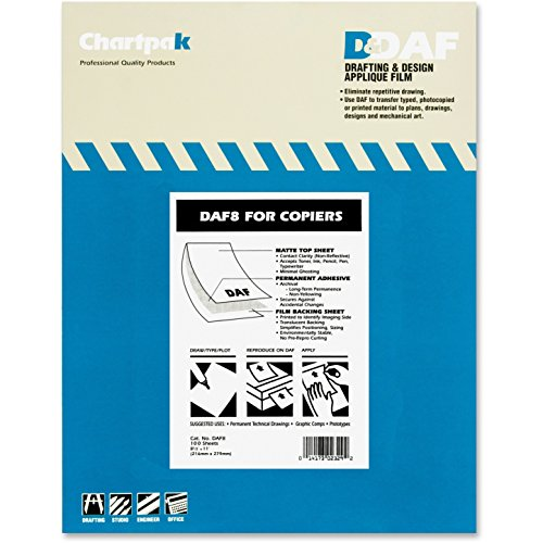 Chartpak DAF8 Drafting Film Permanent Matte 8-1/2-Inch x11-Inch 100/PK
