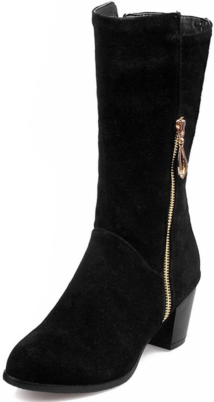 AIWEIYi Womens Thigh High Riding Boots Zipper Chunky High Heel Knee High Boots Black