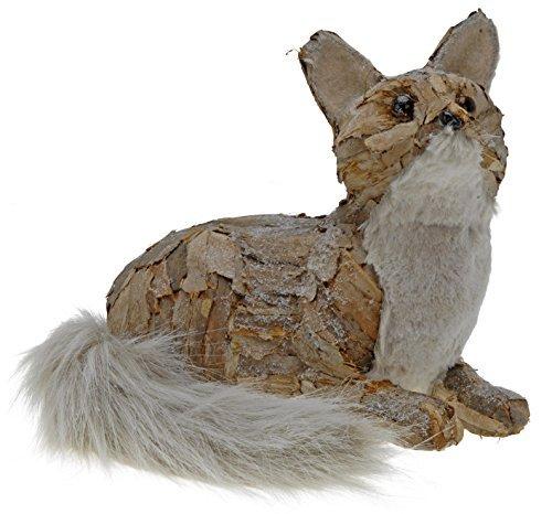 Naturel Fourrure de Renard écorce-33cm aufgeweckt-Figurine hiver Noël Xmas Figurine
