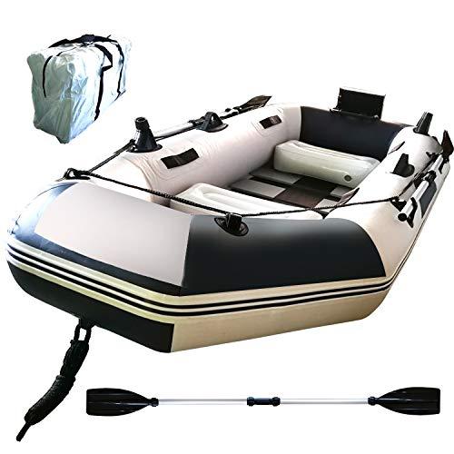 Fkstyle フィッシングボート ゴムボート 3人乗り オール2本セット 230cm×115cm×30cm 収納ケース付き 船外機可 釣り竿ホルダー 積載重量300kg