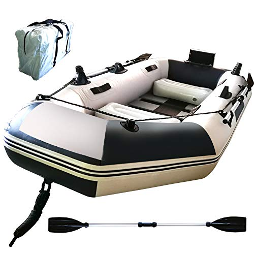 Hewflitフィッシングボート ゴムボート 3人乗り オール2本セット 230cm×115cm×30cm 収納ケース付き 船外機可 釣り竿ホルダー 積載重量300kg