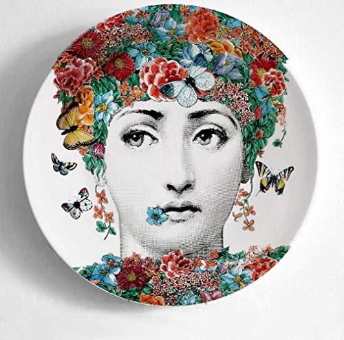 QHKYT PlatteDekoration 7 Zoll Neue Art undWeise Mailand ItalienPlates Kunstsammler Platte Farbe Schwarz-Weiß -Sitzen Teller