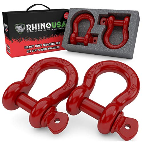 "Rhino USA D Ring Shackle (2 Pack) 41,850lb Break Strength – 3/4"" Shackle with 7/8 Pin for use with Tow Strap, Winch, Off-Road Jeep Truck Vehicle Recovery, Best Offroad Towing Accessories (Red)"