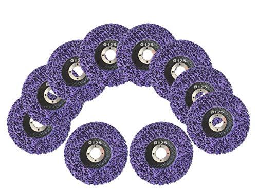 10 Stück Reinigungsscheibe Grobreinigungsscheibe CSD Ø 125mm CBS für Winkelschleifer Clean Strip Disc Premium Purple Nylongewebescheibe
