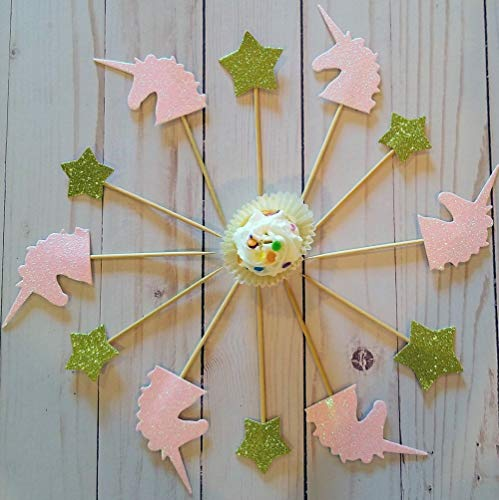 Laylabelle Pink Unicorn horn and Gold Stars Set of 12 Cupcake Cake Treat Toppers on a pick/stick, Birthday Party, shower, Handmade