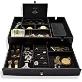 """Stratford Rowe, """"Onyx"""", Mens Large Valet Tray & Dresser Top Organizer, Mens Jewelry Box with Extra-Wide Charging Station, Ring Holders, Slide-Out Drawer for Watches, Cufflinks, Chains, Sunglasses, Keys, Catchall Tray for Nightstand Decluttering"""