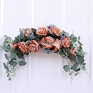 24 Inch Artificial Rose Flower Swag, Arch Floral Swag with Eucalyptus Leaves Silk Flower Garland for Wedding Party Door Decoration