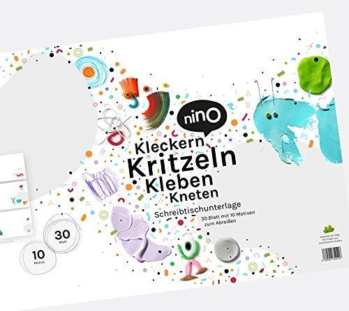 Creatieve bureau-onderlegger & schilderblok voor kinderen in enorme A2-formaat – 30 vellen om af te scheuren met eenvoudige inspiratie om te klikken, krabbelen, lijmen & kneden – denken in plaats van schilderen