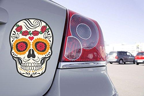 Zone-Stickers Sticker Voiture Tête De Mort Mexicaine Fleur Rose - 30cm x 22cm
