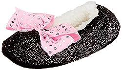 Black Pink Sequin Bow Slipper Socks