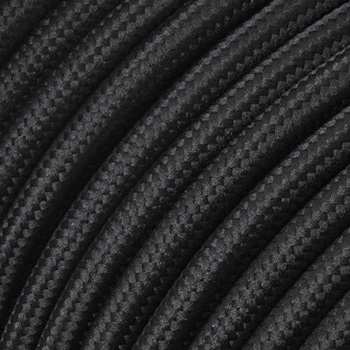 Textilkabel für flexible Elektroinstallation (H05VV-F), Stoffkabel 3x1.5mm², Aufputz-Textilkabel, Installationskabel, Schwarz - 5 Meter