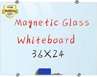 Glass Whiteboard, 3'x 2' Glass Board Magnetic Dry Erase Board on Wall Frameless