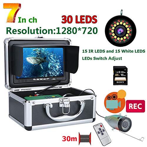 MXXQQ Caméra sous-Marine de pêche, 1080P 15pcs Blanc LEDs + 15pcs Lampe Infrarouge DVR Fish Finder, HD 1280 * 720 Caméra écran pour la pêche avec 16 Go Carte,Cable 30M