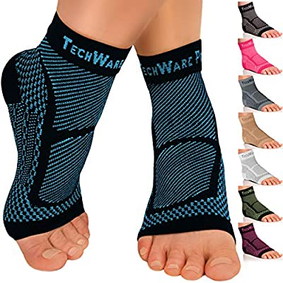 TechWare Pro Ankle Brace Compression Sleeve - Relieves Achilles Tendonitis, Joint Pain. Plantar Fasciitis Foot Sock with Arch Support Reduces Swelling & Heel Spur Pain. (Black / Blue, S / M)