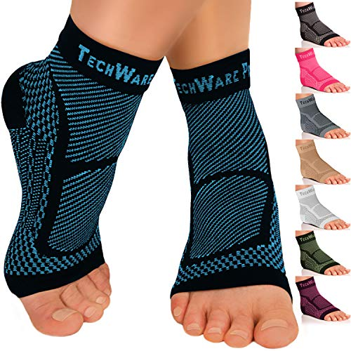 TechWare Pro Ankle Brace Compression Sleeve - Relieves Achilles Tendonitis, Joint Pain. Plantar Fasciitis Foot Sock with Arch Support Reduces Swelling & Heel Spur Pain. (Black/Blue, L/XL)