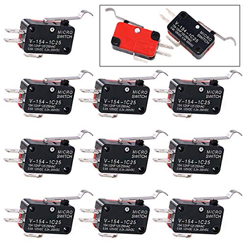 Swpeet 10Pcs V-154-1C25 Micro Limit Switch Long Hinge Roller Momentary Cherry Push Button SPDT Snap Action Perfect for Arduino, Appliance and Electronic Equipment