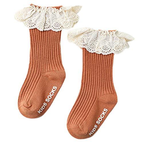 Sayletre Kleinkind Kleinkind Rüschen Spitze Patchwork Rippenstrick Einfarbig Baby Mädchen Baby Mädchen Kniestrümpfe mit Griffen<br/>Socken<br/>rutschfest 0-3 Jahre