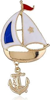YuLinStyle Halloween Segelboot Kleidung europäischen und amerikanischen Modeschmuck Anker Piratenkapitän Brosche Party 3er Pack Zubehör Damenketten