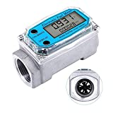 Digital Turbine Flow Meter Digital LCD Display with NPT Counter Gas Oil Fuel Flowmeter for Measure Diesel Kerosene Gasoline (1 Inch)