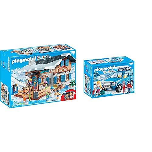 PLAYMOBIL Family Fun Cabaña de Esquí, A Partir de 4 años (9280) + Family Fun Coche, A Partir de 4 años (9281)