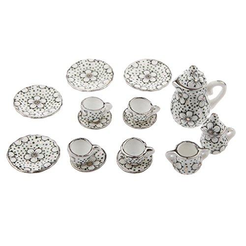 Almencla Juego de Té de Artículos de Comedor con Puntos en Miniatura de 17 Piezas 1:12 con Diseño de Flores