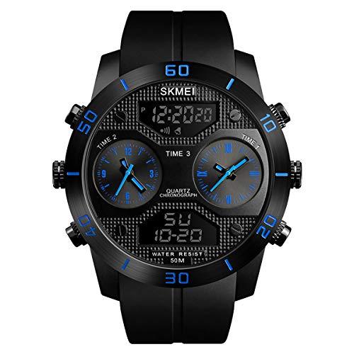 Herren Analog Digitaluhr Sportuhr Outdoor Laufen Alarm Stoppuhr Kalender LED-Hintergrundbeleuchtung 5 ATM Wasserdicht
