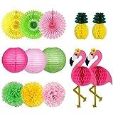Farol hawaiano para fiesta de playa, diseño de flamencos y piña de panal de abeja de papel para abanicos de papel con pompones de flores para cumpleaños, despedida de soltera tropical Luau