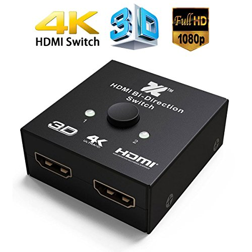 HDMI 2.0 Switch 2 Ports HDMI Bi-diectional Switch Splitter 2×1 or 1×2 Pass Through UHD 4Kx2K@60Hz Full HD 1080p, 3D,Supports Xbox 360, Xbox One, PS3, PS4,HDTV, Blu-Ray DVD