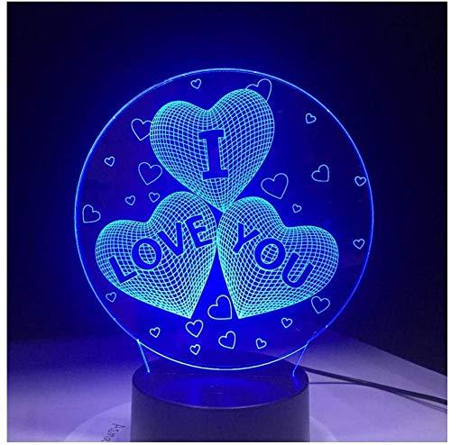 Nachtlicht Neueste Ich liebe dich Bunte 3D-Hologramm-Lampe USB-Acryl-Lichter 3D-LED-Lampe Nachtlicht für Weihnachten Hochzeitsfeier Liebhaber Geschenk