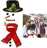 Fixget Snowman Decorating Kit, 14 Pcs Large Snowman Making Kit Snowman Dressing Kit Outdoor Fun for...