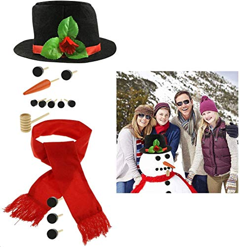 Fixget Snowman Decorating Kit, 14 Pcs Large Snowman Making Kit Snowman Dressing Kit Outdoor Fun for Kids & Family, Including Top Hat, Scarf, Pipe, Eyes, Carrot Nose & Buttons