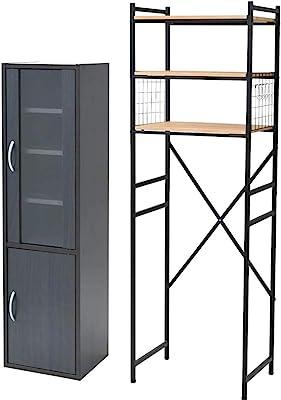 【食器棚&レンジ台セット】山善 食器棚 幅32×奥行29×高さ120cm スリム マグネット式 棚板可動 一人暮らし組立品 ダークブラウン CCB-1230(DBR) + 専用レンジ台