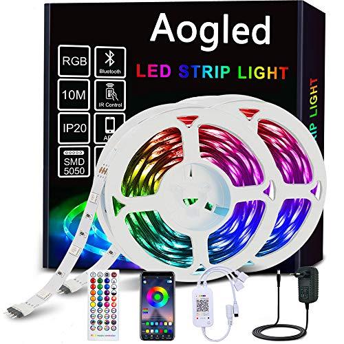 Aogled Striscia LED 10 metri,Bluetooth Striscia LED RGB con Controllo APP e Telecomando,Strisce LED con Sincronizzazione Musicale,Strisce Luminose 5050 LED per Interni,Camera da Letto,Soggiorno,Feste