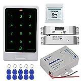 HFeng Full Kit Sistema Control Acceso Puerta RFID Teclado Control Acceso táctil Metal + Fuente Alimentación DC12V 3A + Eléctrica Drop Bolt Lock + 10pcs Keychains Card Mandos para el hogar